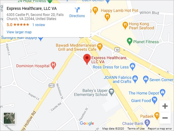 Directions to Express Healthcare Urgent Care in Falls Church, VA on 6305 Castle Place