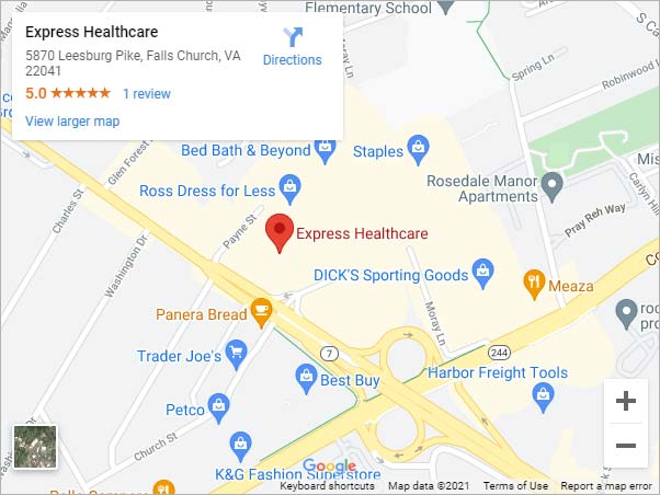 Get Directions to Express Healthcare in Falls Church, VA (Skyline)